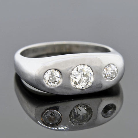 Art Deco Platinum Diamond Gypsy Ring 0.73ctw