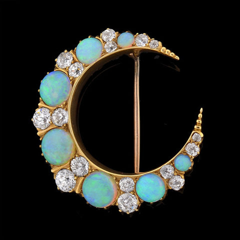 HARDY BROS Art Nouveau Opal & 3ctw Diamond 14kt Crescent Pin