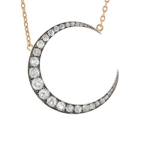 Victorian Silver Topped 18kt Diamond Crescent Necklace