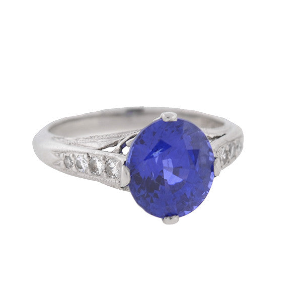 Art Deco Style Platinum Ceylon Sapphire Diamond Ring 3.83ct