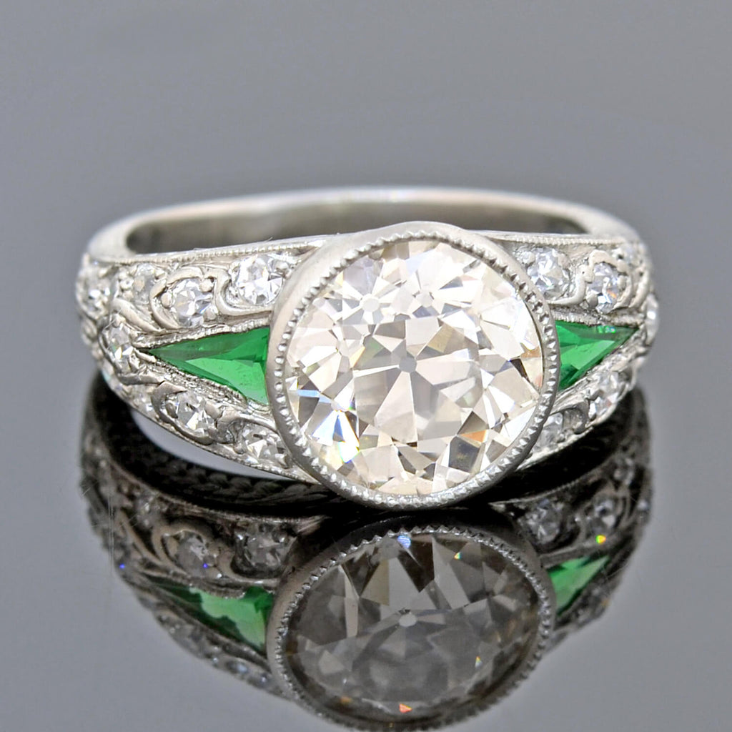 Art Deco Platinum Diamond + Emerald Engagement Ring 3.00ct center