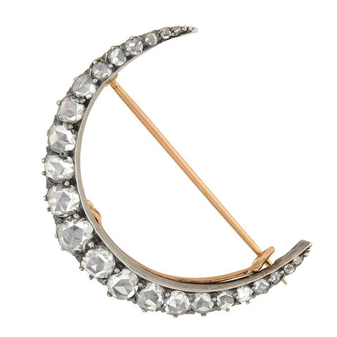 Victorian 15kt/Silver Rose Cut Diamond Crescent Pin/Pendant 3ctw