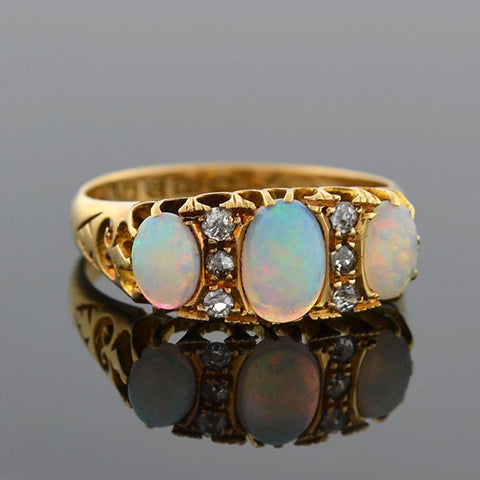 Late Victorian 18kt Opal & Diamond Ring