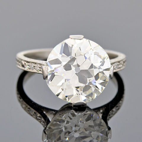 Art Deco GIA-Certified Platinum Diamond Engagement Ring 4.39ct