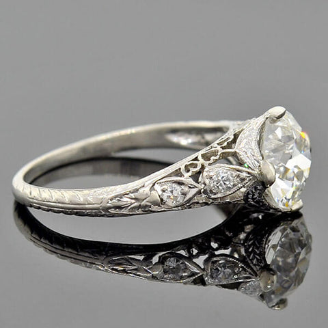 "Art Deco Platinum ""Hearts Motif"" Diamond Engagement Ring 1.67ct"