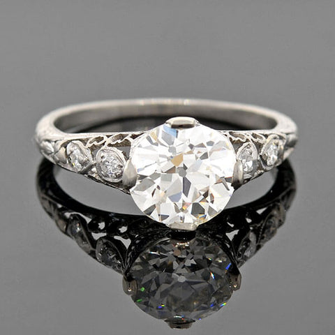 "Art Deco Platinum ""Hearts Motif"" Diamond Engagement Ring 1.68ct"