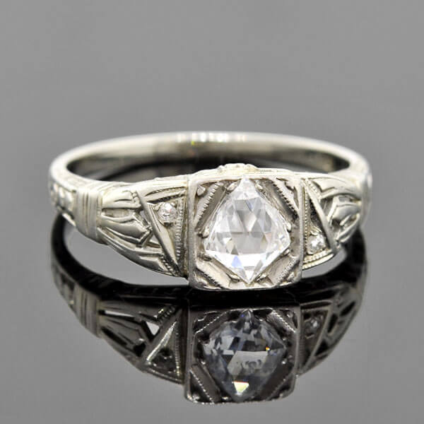 Art Deco 18kt Briolette Diamond Engagement Ring .55ct