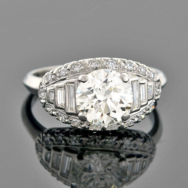 Art Deco Platinum Multi-Cut Diamond Engagement Ring 2.19ct center