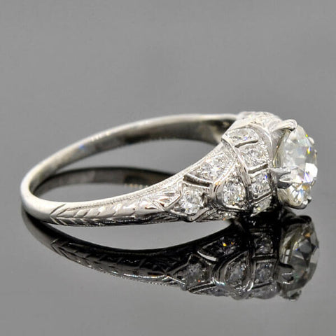 Art Deco Platinum Diamond Engagement Ring 0.85ct