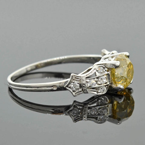 Art Deco Platinum Natural Fancy Yellow Diamond Engagement Ring 1.59ct