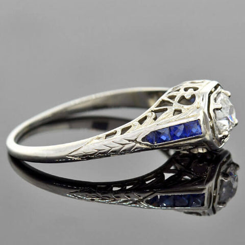 Art Deco 18kt Diamond Sapphire Engagement Ring 0.40ct