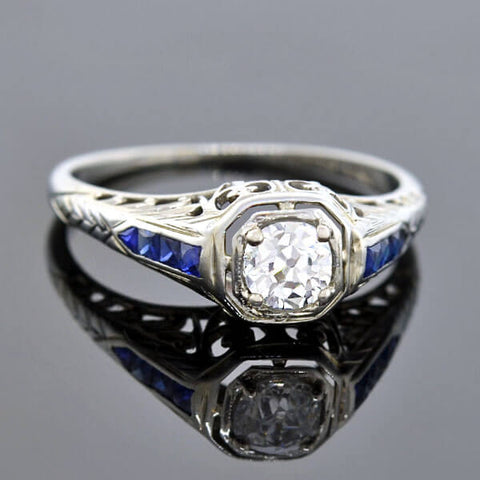 Late Art Deco Platinum Sapphire & Diamond Ring 1.69ct center