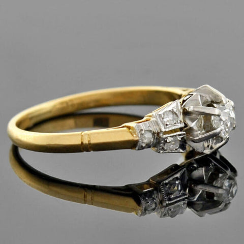 Edwardian 18kt/Platinum Mixed Metals Diamond Engagement Ring 0.10ct