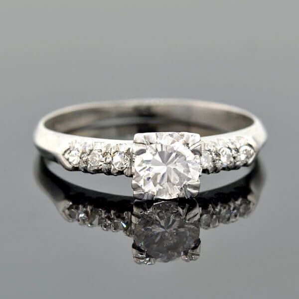 Late Art Deco Platinum Diamond Engagement Ring 0.54ct