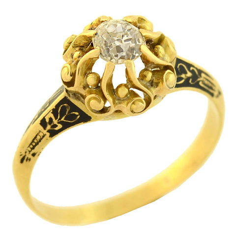 Georgian 18kt Gold Enameled Diamond Engagement Ring 0.60ct