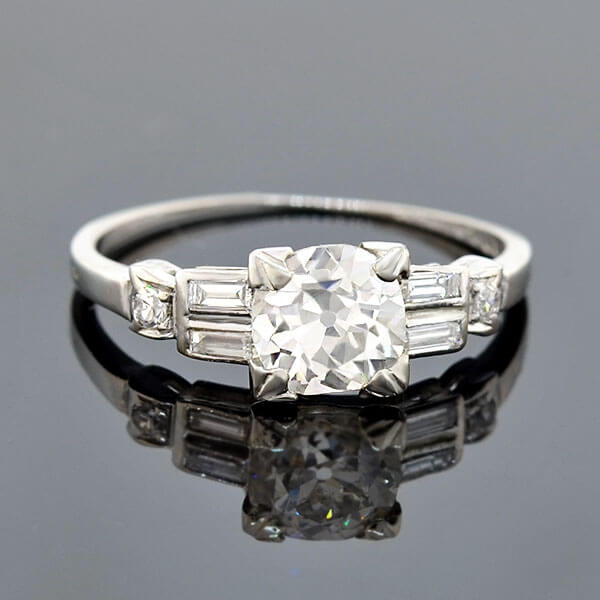 Late Art Deco Platinum Diamond Engagement Ring 0.97ct