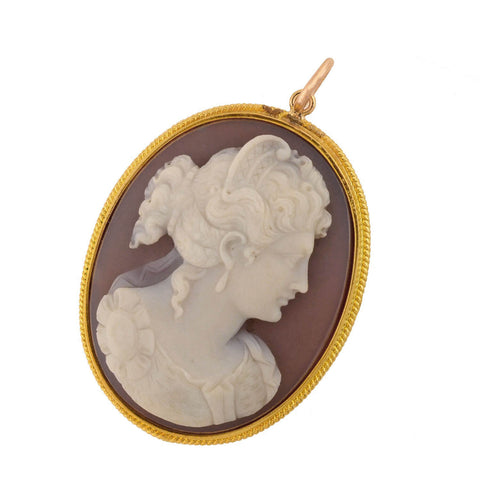Victorian Large 18kt Hand Carved Sardonyx Cameo Pendant