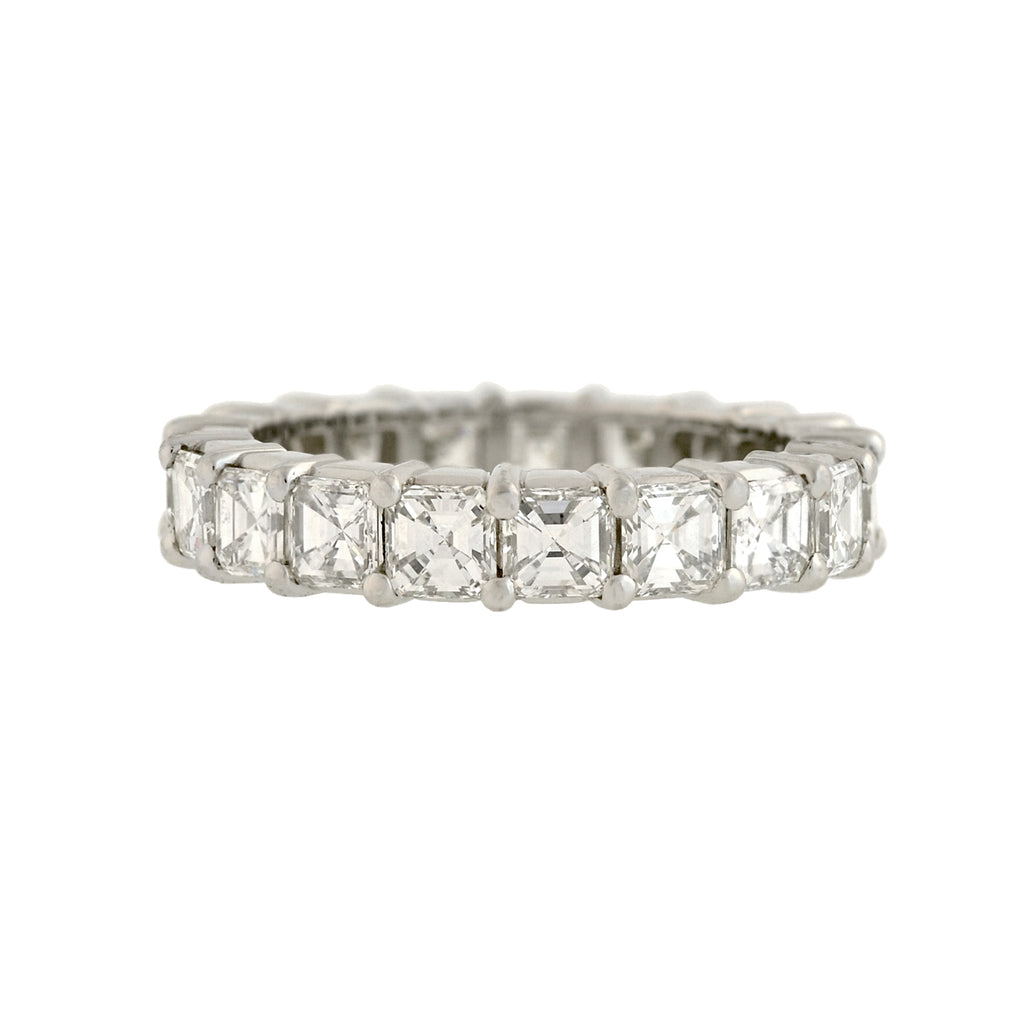 Estate Platinum Asscher Cut Diamond Eternity Band 3.60ctw