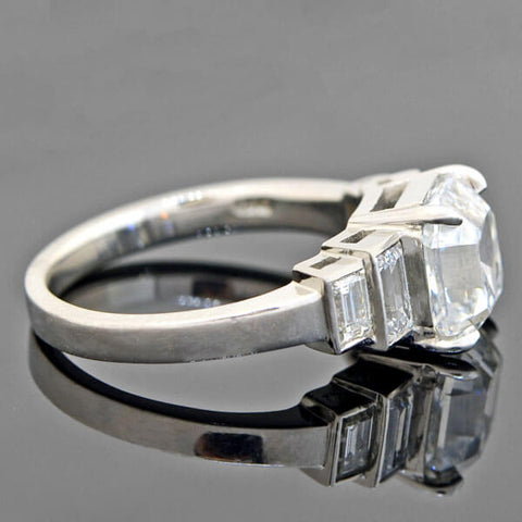 Estate Platinum Asscher Cut Diamond Engagement Ring 3.02ct