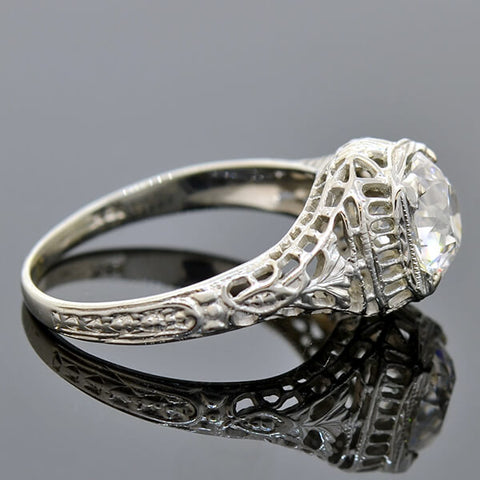 Art Deco 18kt Diamond Filigree Engagement Ring 1.59ct