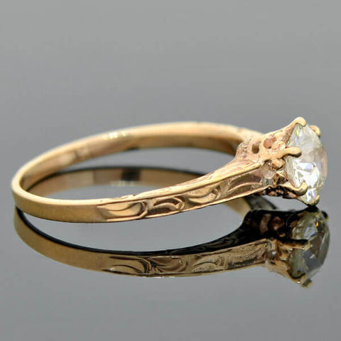 Victorian 10kt Rose Gold Diamond Solitaire Engagement Ring 0.76ct