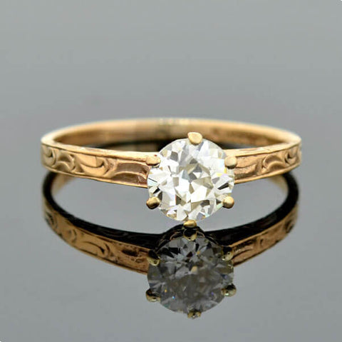 Art Deco 18kt Rose Motif Diamond Engagement Ring .35ct