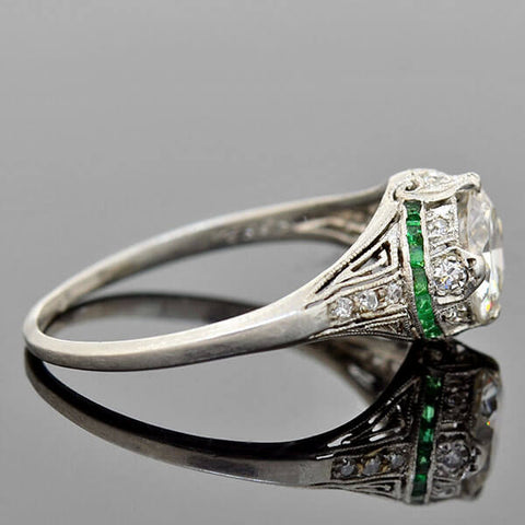 Art Deco Platinum Diamond Emerald Heart Motif Engagement Ring 1.25ct