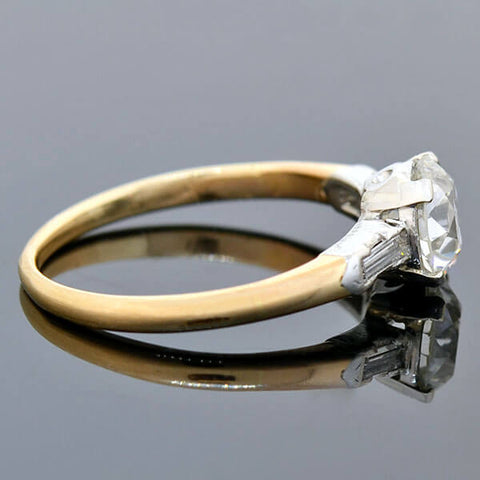 Late Art Deco 14kt/Platinum Diamond Engagement Ring 0.95ct