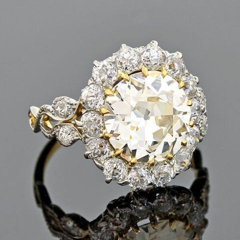 Edwardian 18kt/Platinum Diamond Halo Ring 3.01ct center