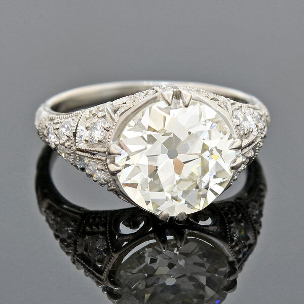 Art Deco Platinum Diamond Filigree Engagement Ring 3.90ct