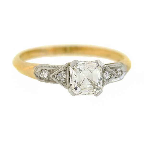 Early Retro 14kt/Platinum Asscher Cut Diamond Engagement Ring 0.86ct