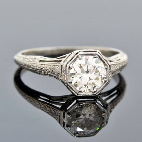 Art Deco Platinum Diamond Engagement Ring 0.88ct