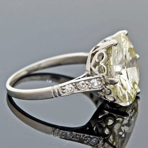 Late Art Deco Platinum Diamond Engagement Ring 6.06ct