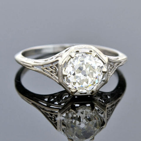 Art Deco Platinum Diamond Engagement Ring 1.27ct