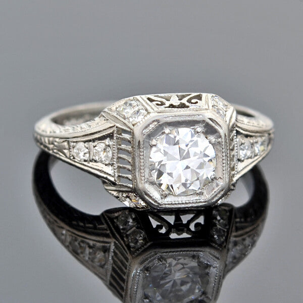 Art Deco Platinum Diamond Engagement Ring 0.65ct