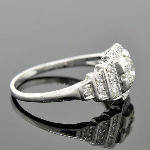 Art Deco Platinum Step-Up Diamond Engagement Ring 0.40ct