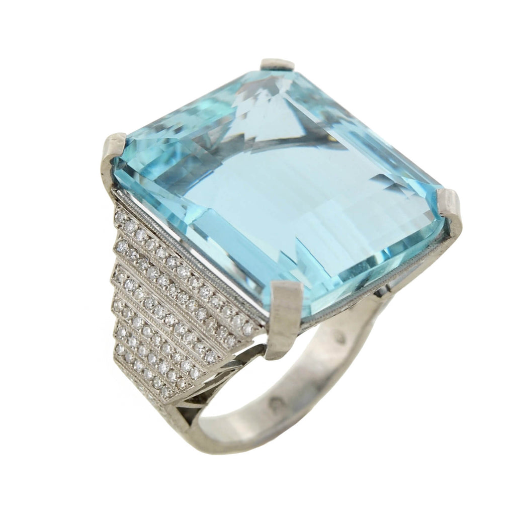 Estate Platinum Aquamarine + Diamond Cocktail Ring 32.50ct