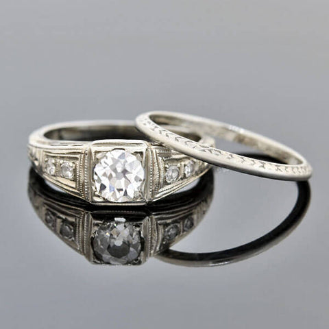 Art Deco 18kt Diamond Engagement Ring + Band Set 0.53ct