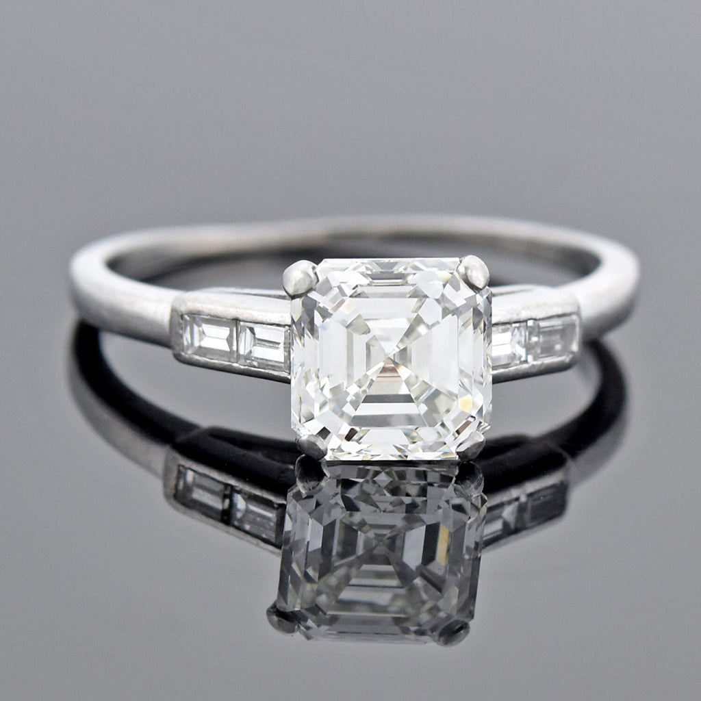 Art Deco Platinum Asscher Cut Diamond Engagement Ring 1.50ct