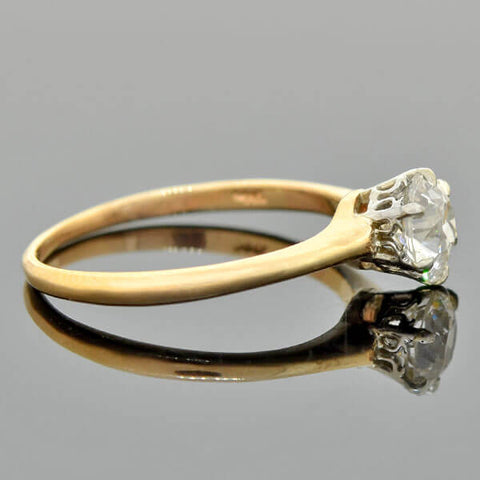 Edwardian 14kt Mixed Metals Diamond Engagement Ring 0.88ct
