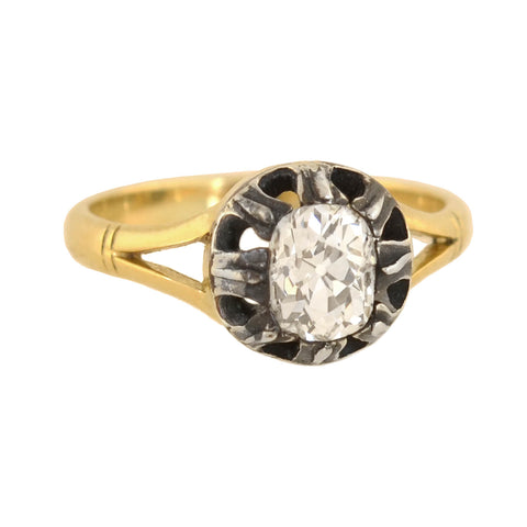 Victorian 18kt/Sterling Diamond Engagement Ring 0.75ct