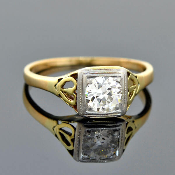 Edwardian 14kt/Platinum Heart Motif Diamond Engagement Ring 0.50ct