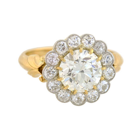 Edwardian 18kt/Platinum Diamond Cluster Ring with 2.19ct Center