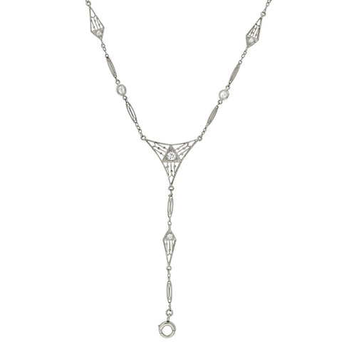 Edwardian Platinum Diamond Lorgnette Chain Necklace 24.5""
