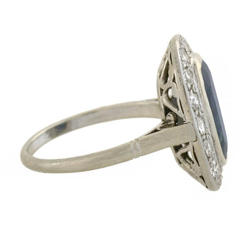 Edwardian Platinum Sapphire + Diamond Ring 4ct