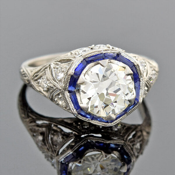 Art Deco Platinum Diamond Sapphire Engagement Ring 1.55ct