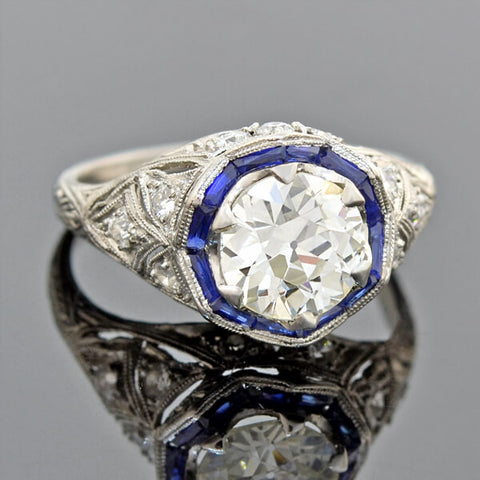 Victorian Natural Color Changing Sapphire Diamond Cluster Ring 1.50ctw