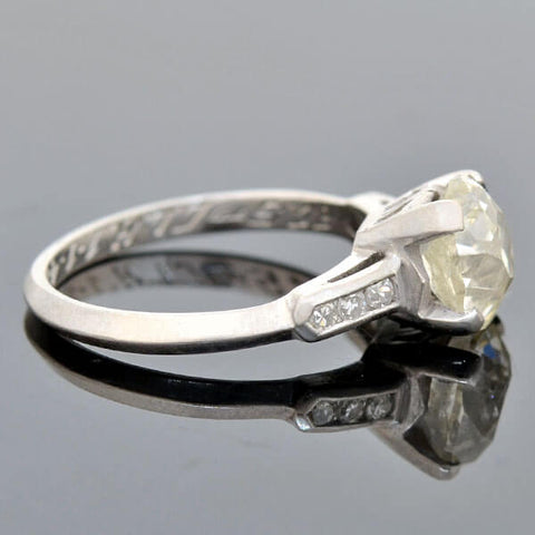 Retro Platinum Cushion Cut Diamond Engagement Ring 1.61ct
