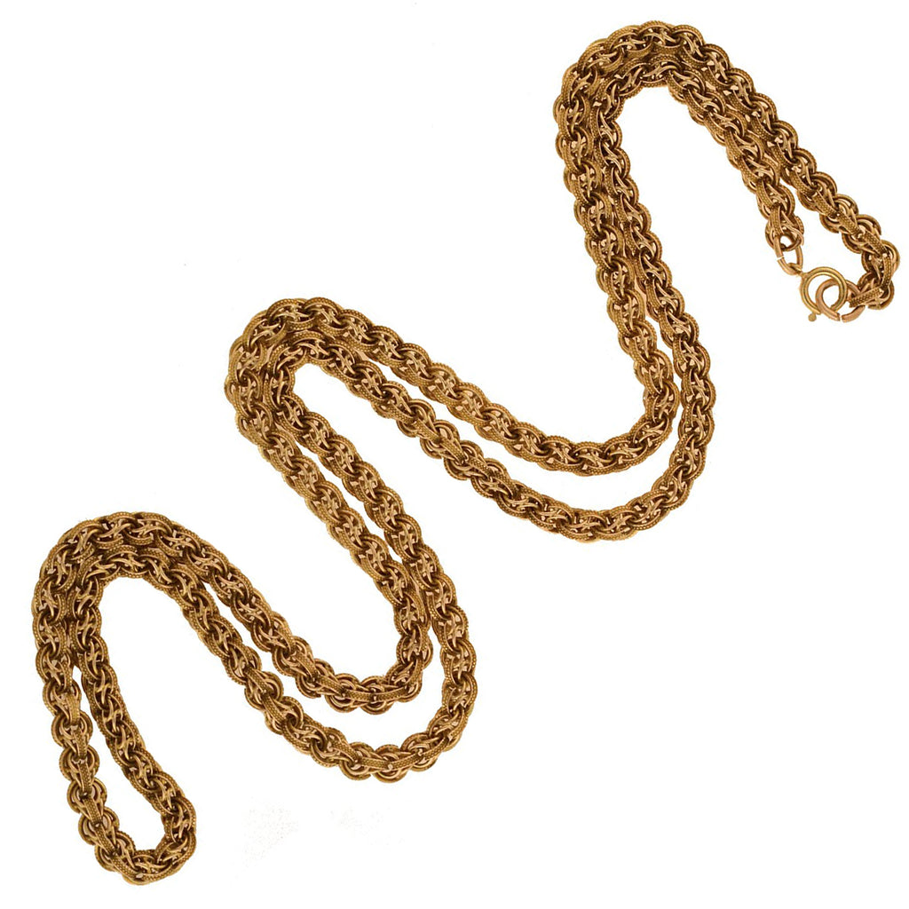 Victorian 14kt Textured Link Chain Necklace 25""