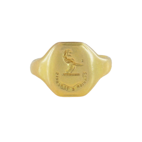 "Victorian 14kt ""Brighter than the Dark "" Griffin Signet Ring"